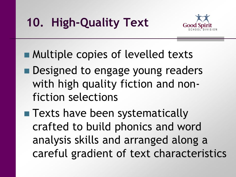 10. High-Quality Text Multiple copies of levelled texts