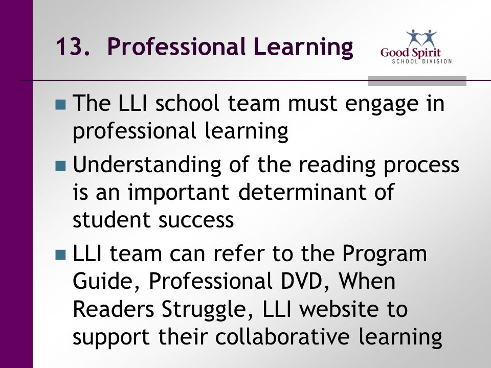 13. Professional Learning