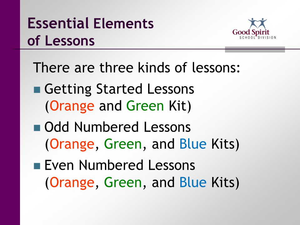 Essential Elements of Lessons