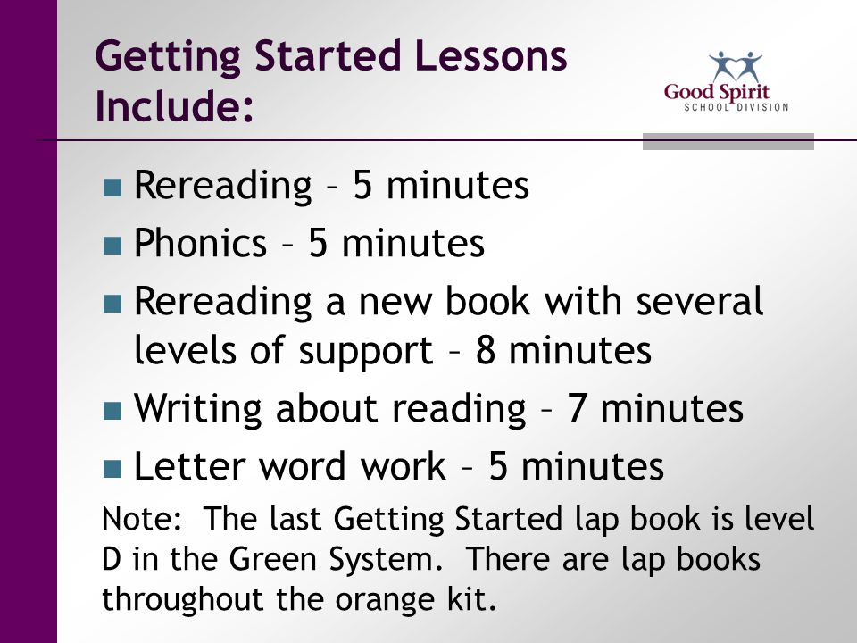 Getting Started Lessons Include: