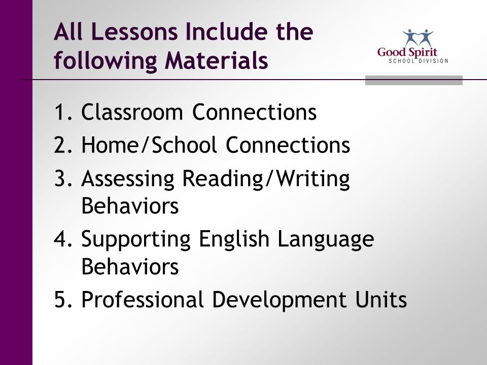 All Lessons Include the following Materials
