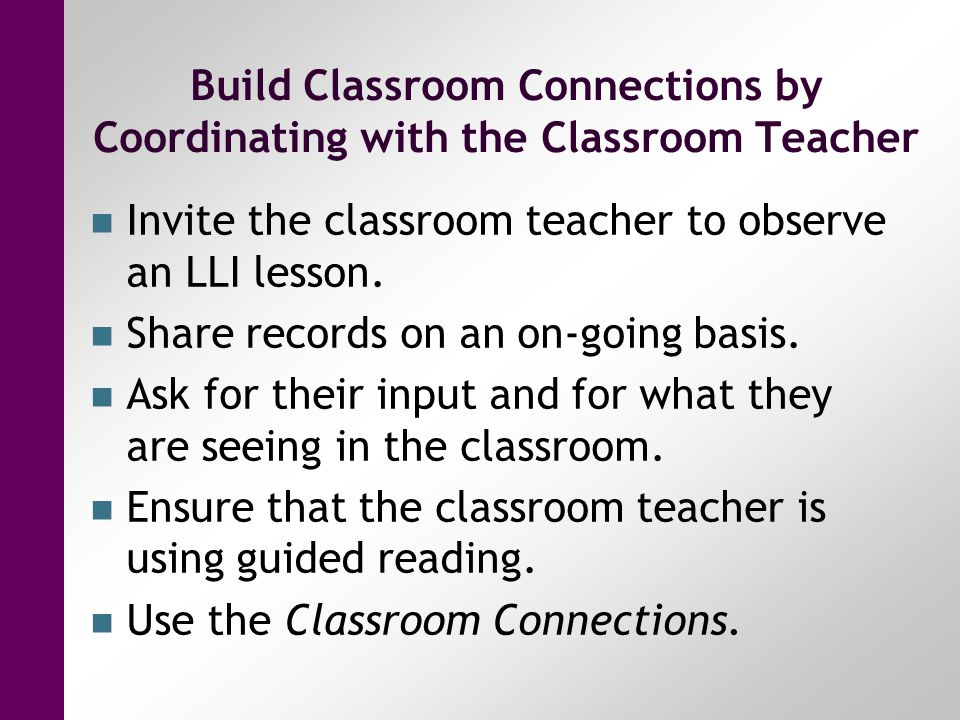Build Classroom Connections by Coordinating with the Classroom Teacher