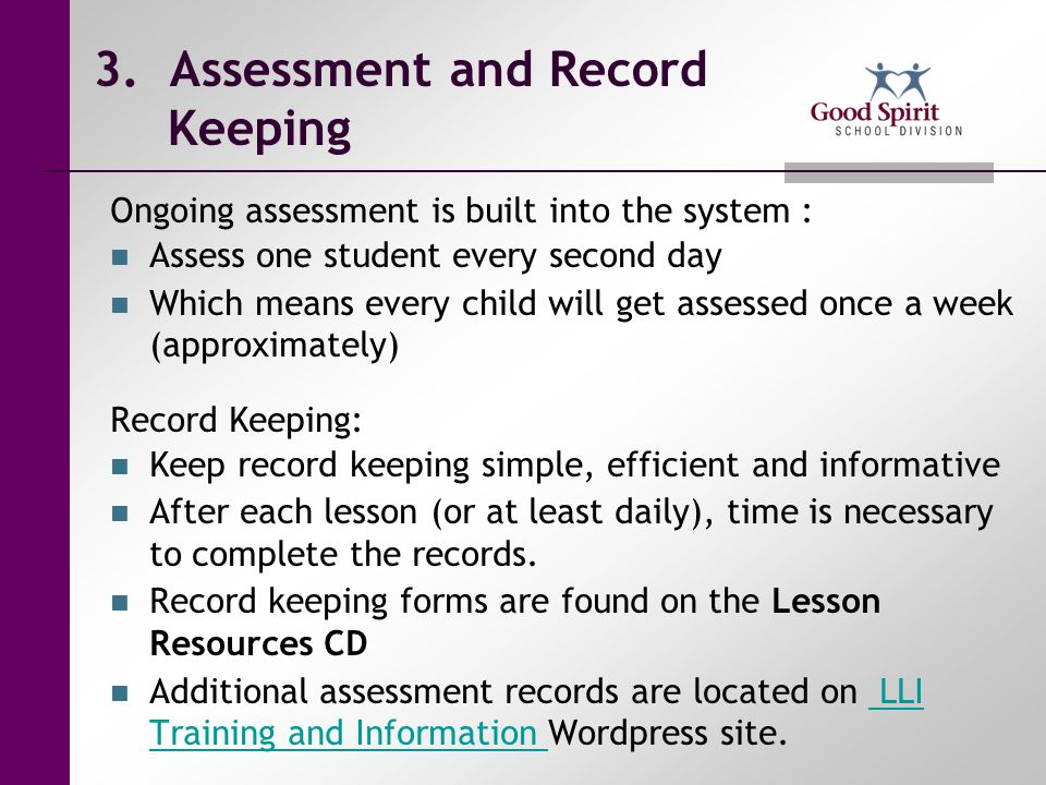 3. Assessment and Record Keeping