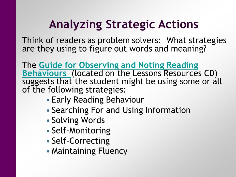 Analyzing Strategic Actions