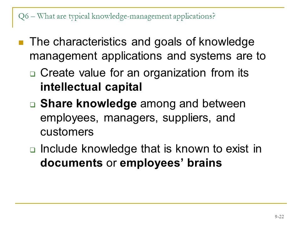 Q6 – What are typical knowledge-management applications