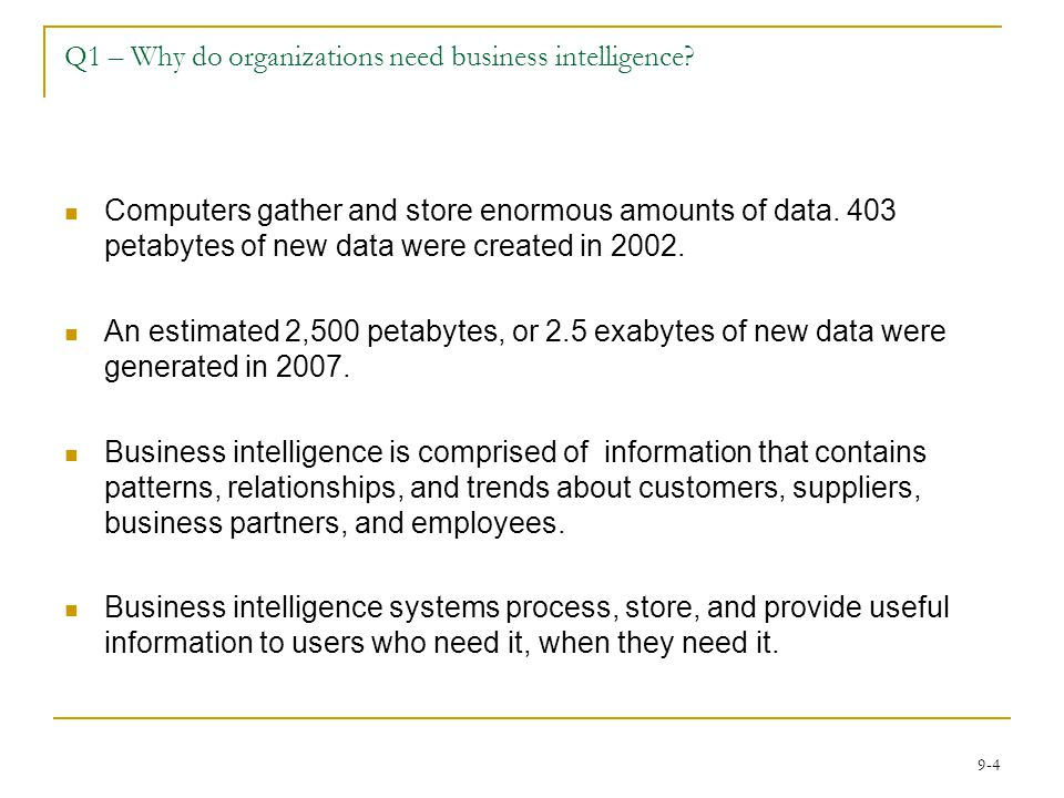 Q1 – Why do organizations need business intelligence
