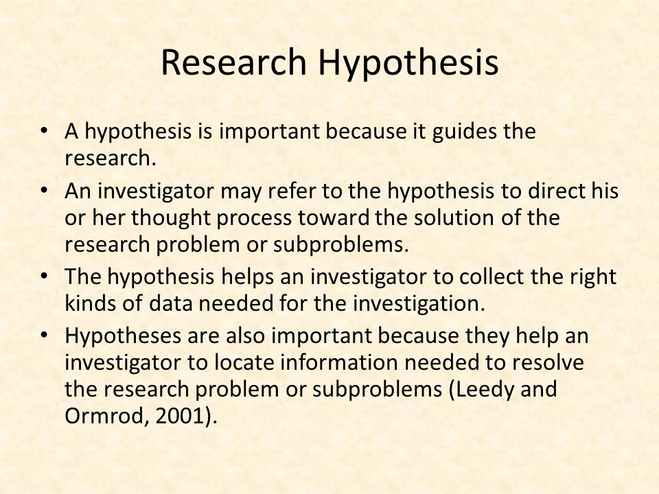 why is a hypothesis important