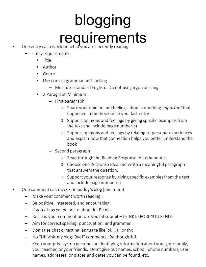 blogging requirements