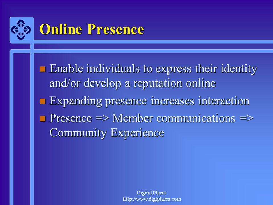 Online Presence Enable individuals to express their identity and/or develop a reputation online. Expanding presence increases interaction.