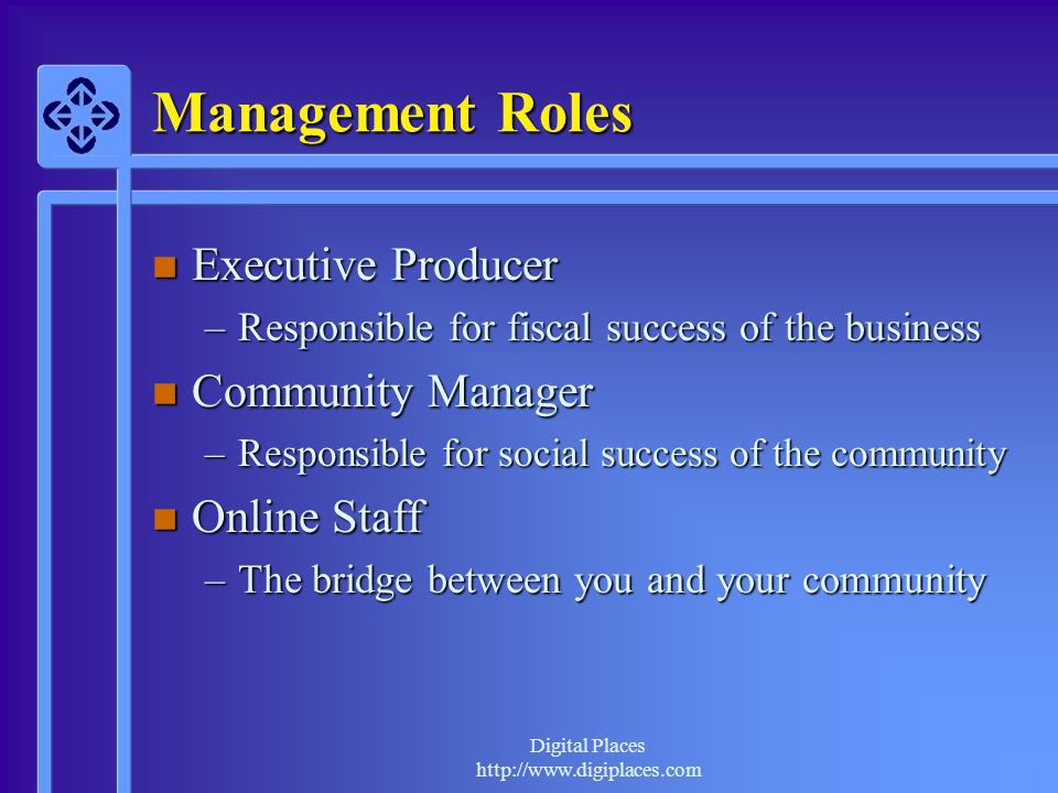 Management Roles Executive Producer Community Manager Online Staff