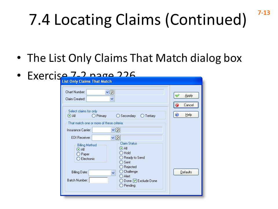 7.4 Locating Claims (Continued)