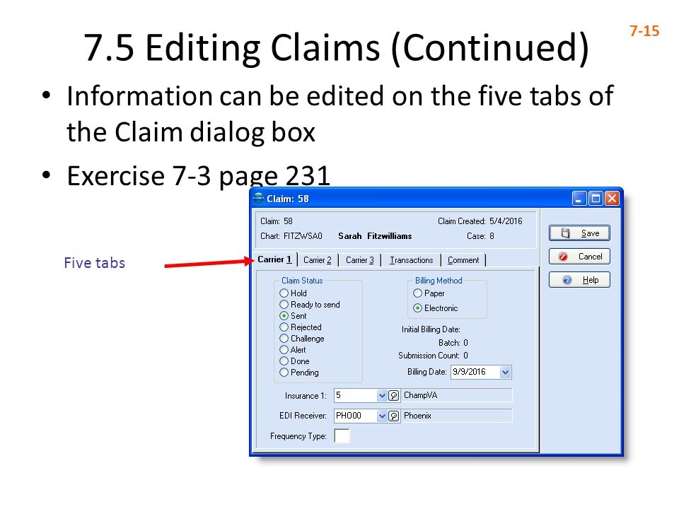 7.5 Editing Claims (Continued)