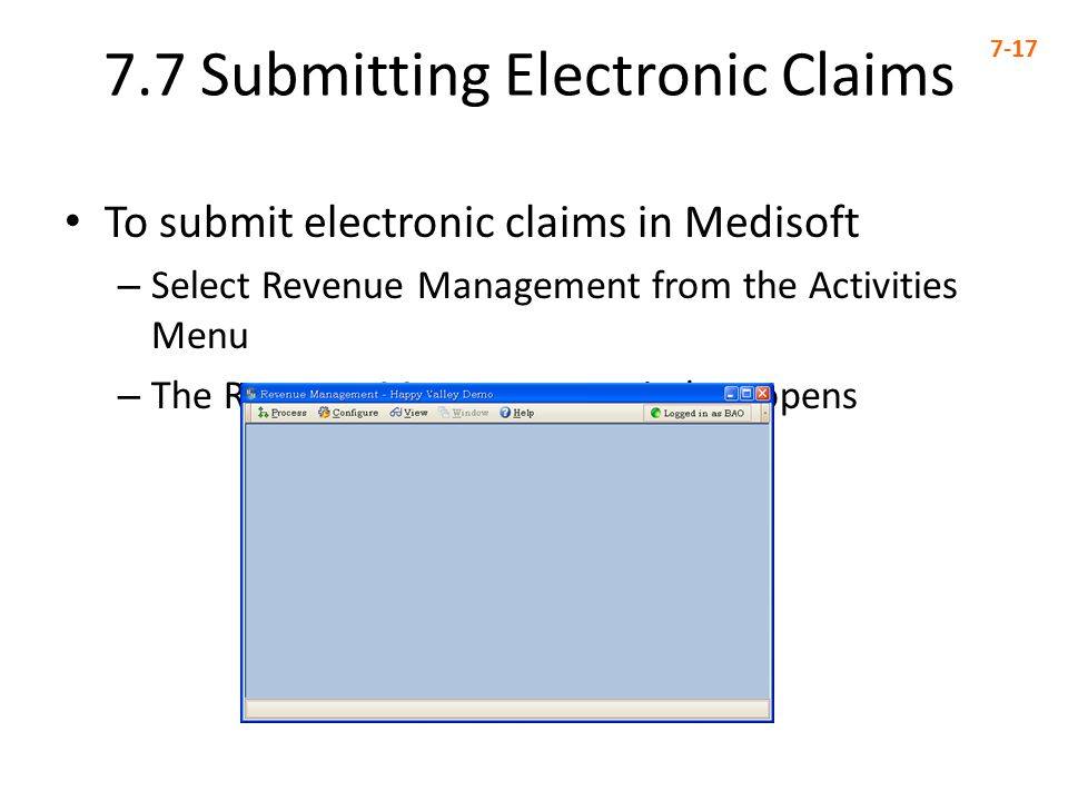 7.7 Submitting Electronic Claims