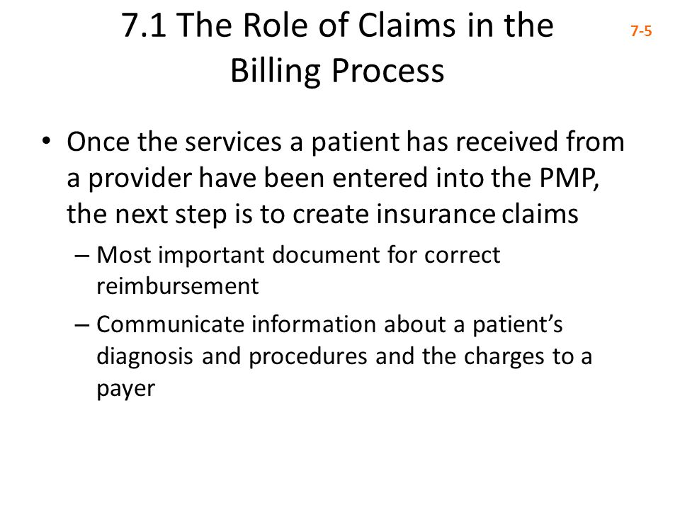 7.1 The Role of Claims in the Billing Process