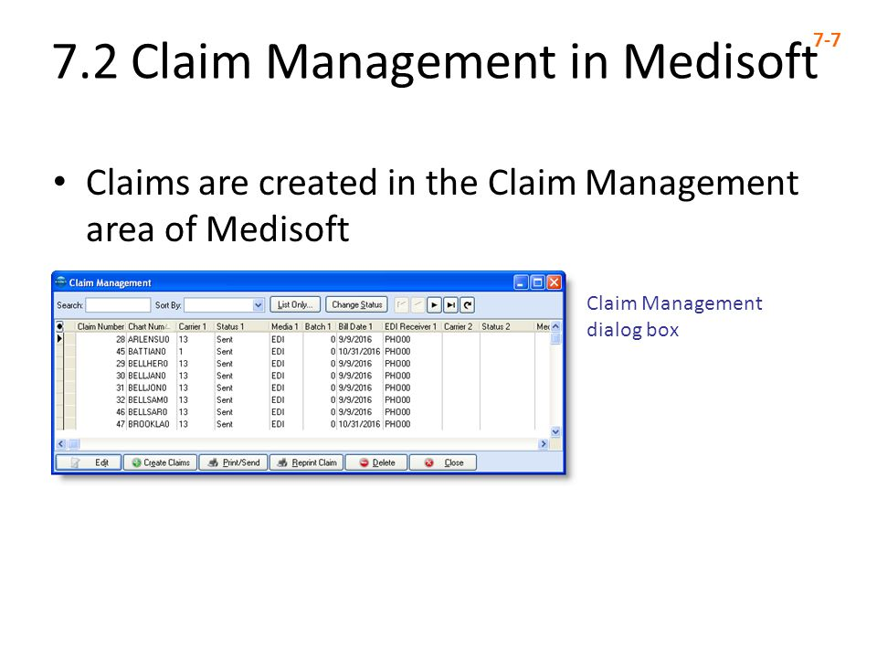 7.2 Claim Management in Medisoft