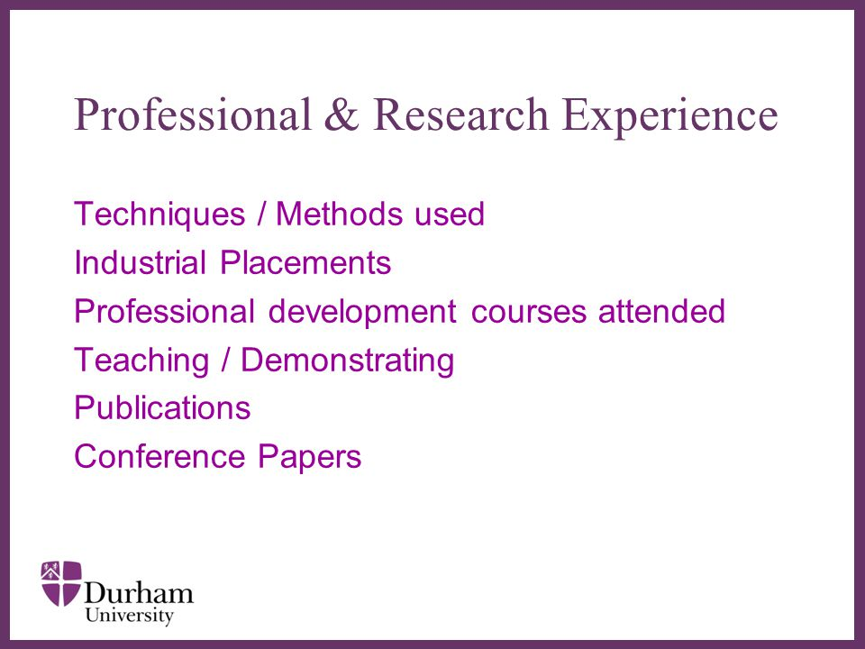 Professional & Research Experience