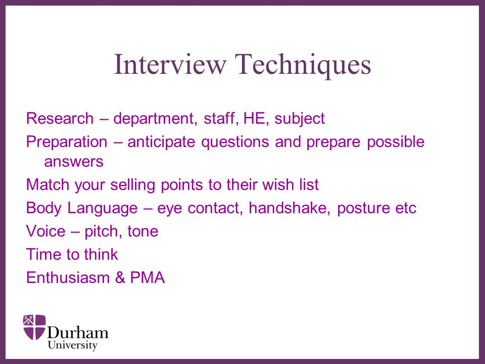 Interview Techniques Research – department, staff, HE, subject