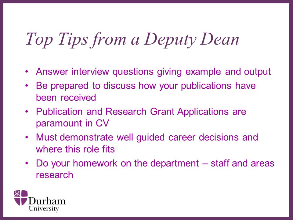 Top Tips from a Deputy Dean