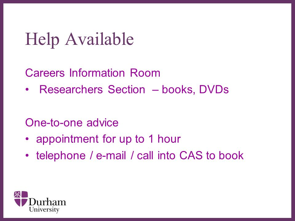 Help Available Careers Information Room