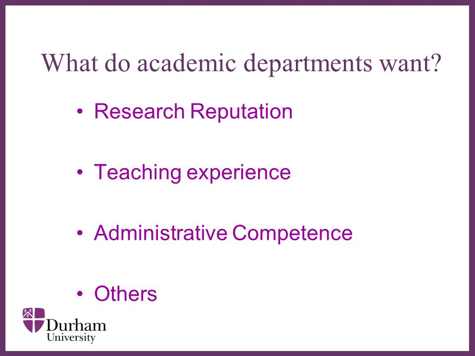 What do academic departments want