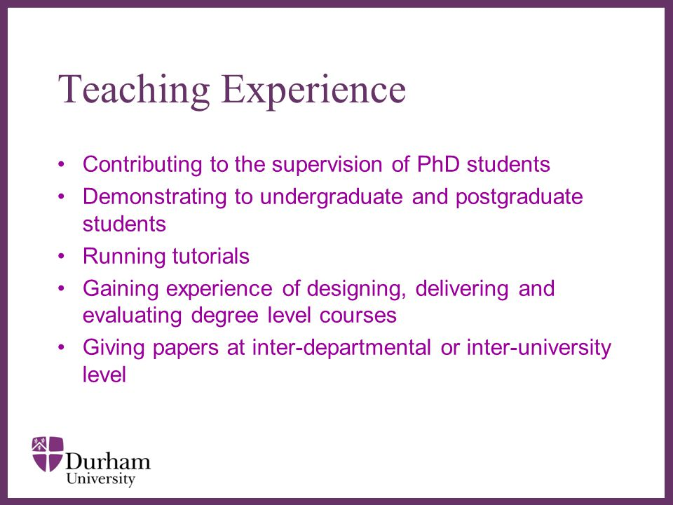 Teaching Experience Contributing to the supervision of PhD students
