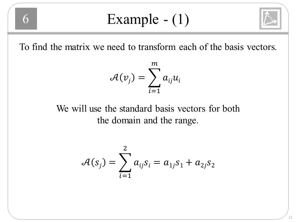 To find the matrix we need to transform each of the basis vectors.