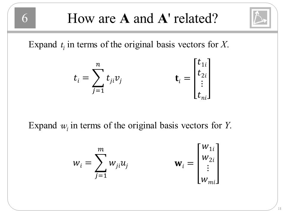 How are A and A related Expand ti in terms of the original basis vectors for X. 𝐭𝑖= 𝑡1𝑖 𝑡2𝑖 ⋮ 𝑡𝑛𝑖.