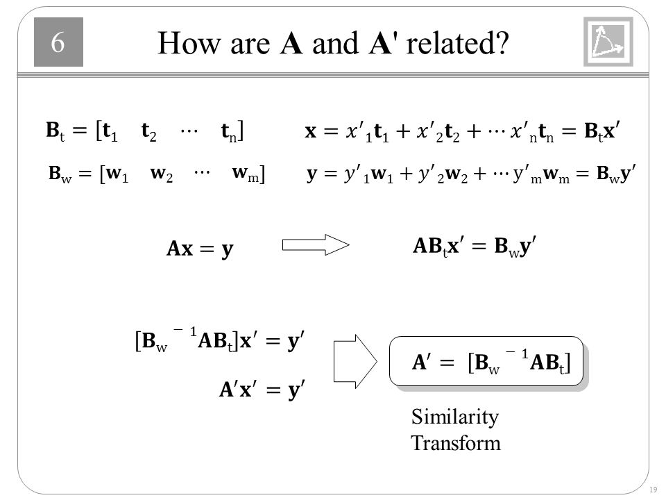 How are A and A related 𝐁t= 𝐭1 𝐭2 ⋯ 𝐭n