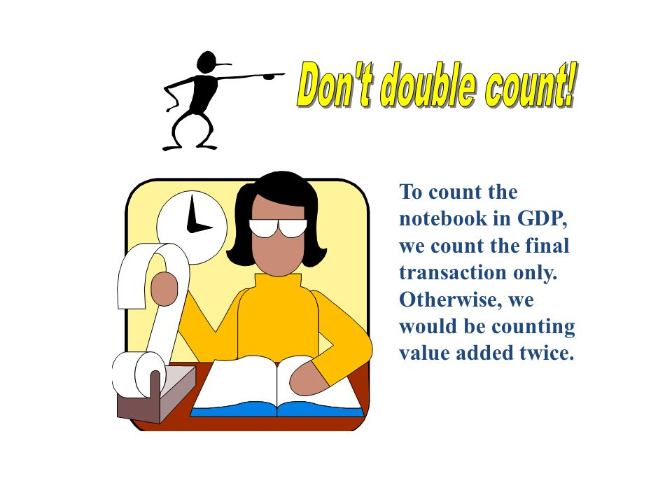 Don t double count. To count the notebook in GDP, we count the final transaction only.
