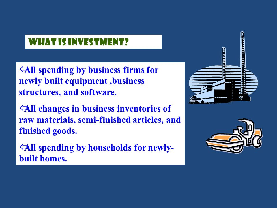 What is investment All spending by business firms for newly built equipment ,business structures, and software.