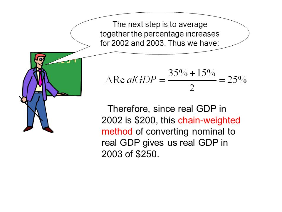 The next step is to average together the percentage increases for 2002 and Thus we have: