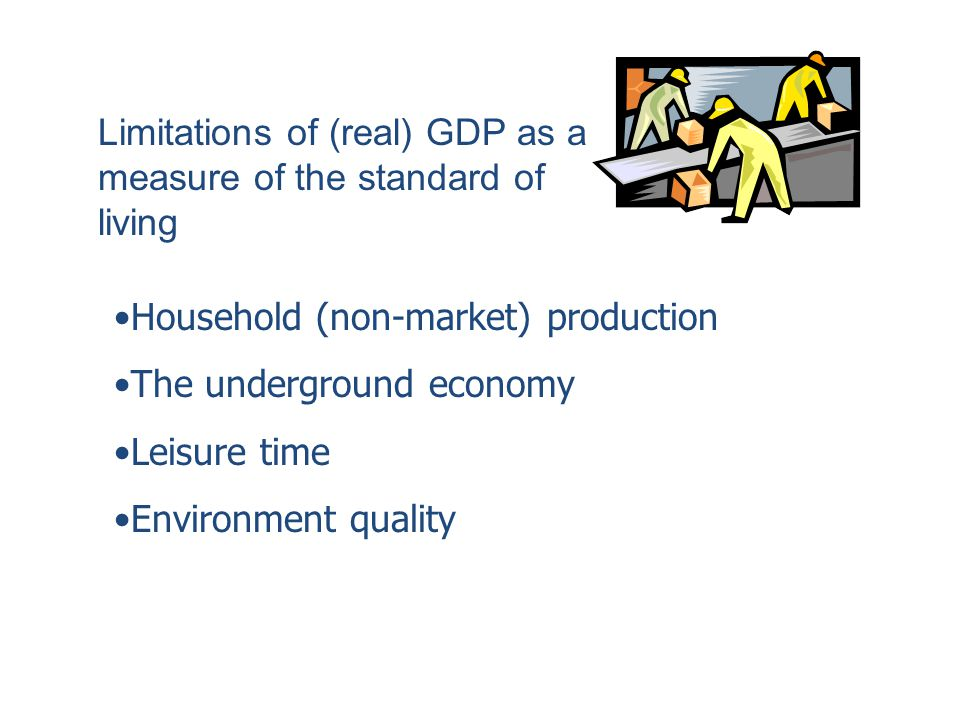 Limitations of (real) GDP as a measure of the standard of living