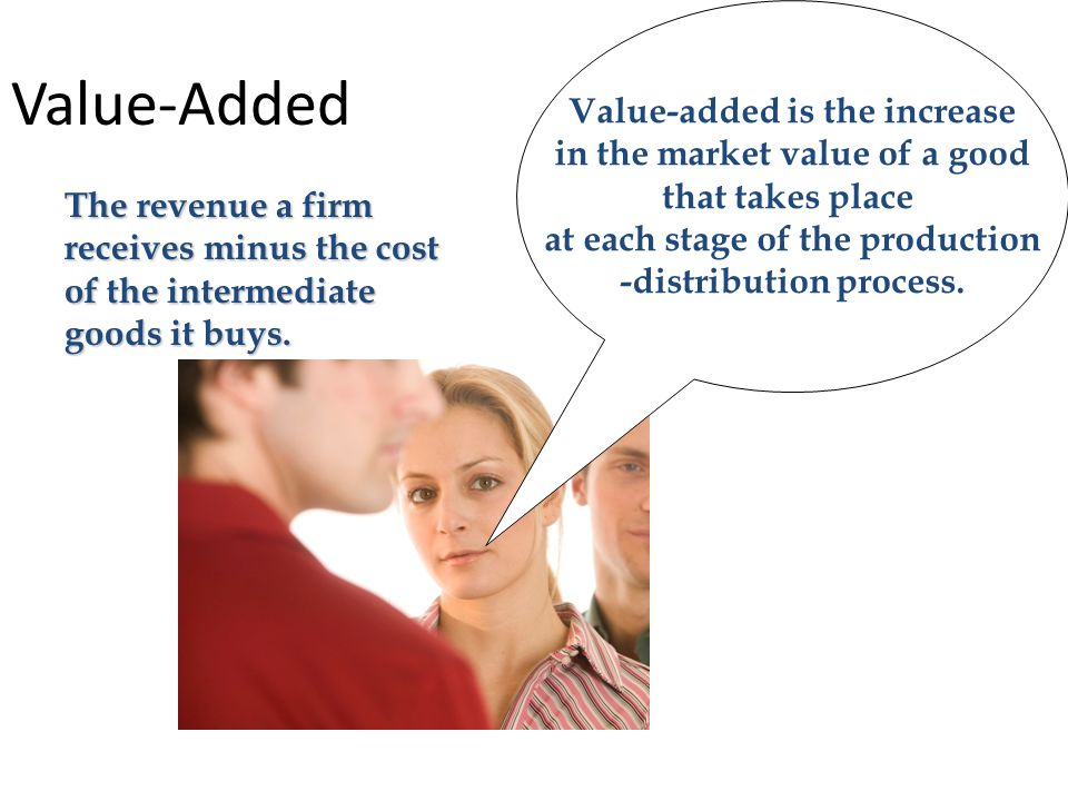 Value-Added Value-added is the increase in the market value of a good