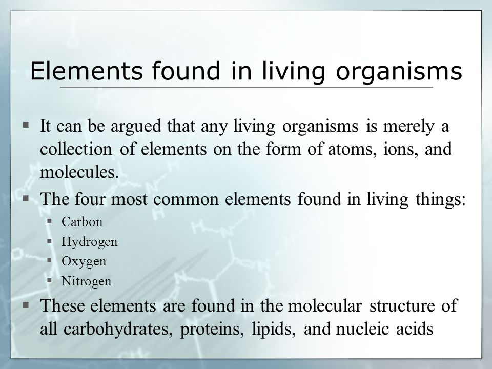 Elements Found In Living Organisms