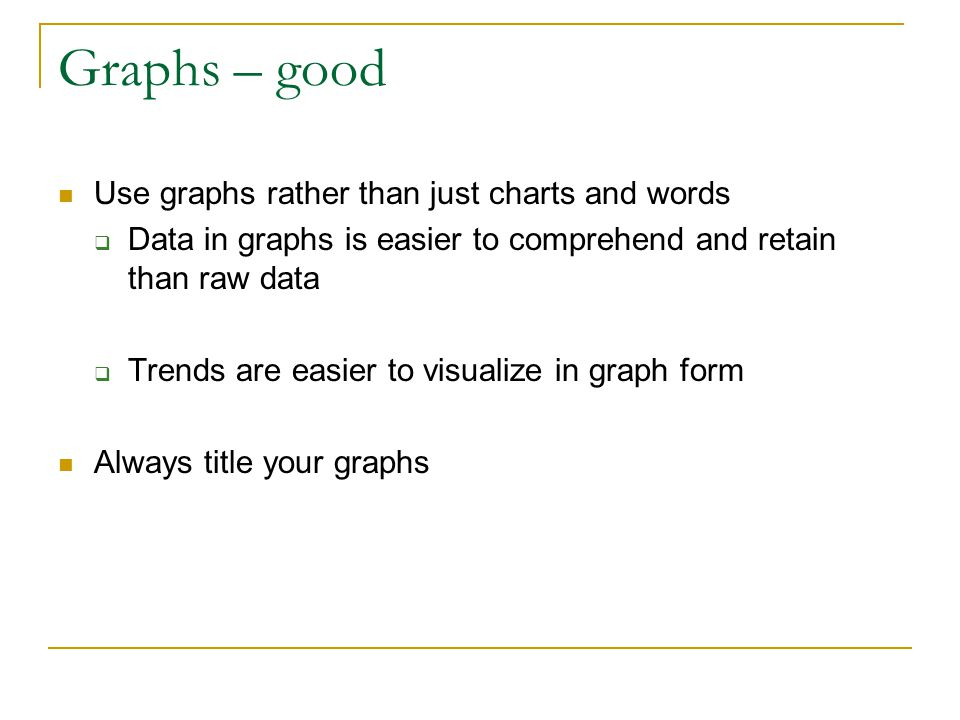 Graphs – good Use graphs rather than just charts and words