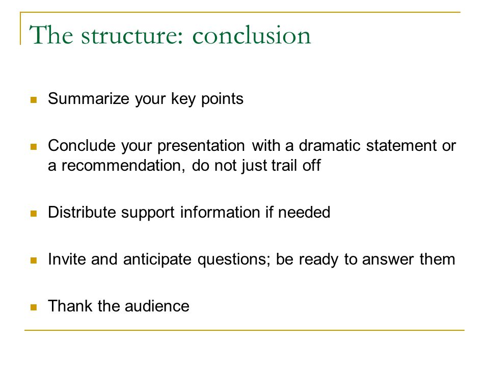The structure: conclusion