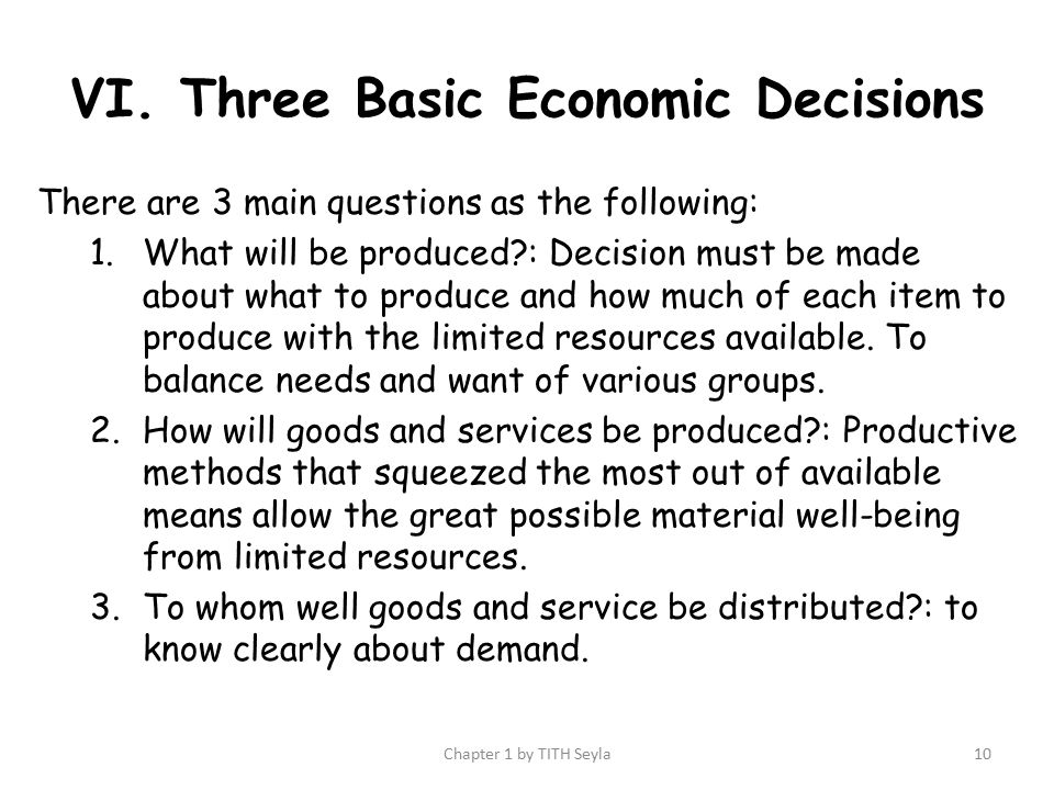 three basic economic decisions