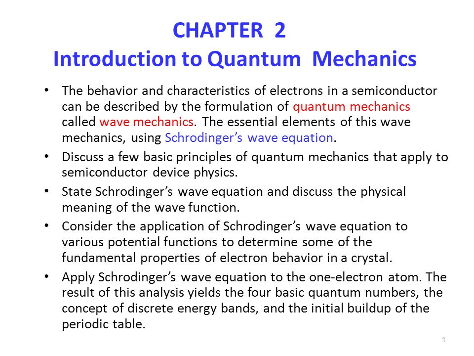 CHAPTER 2 Introduction to Quantum Mechanics - ppt download