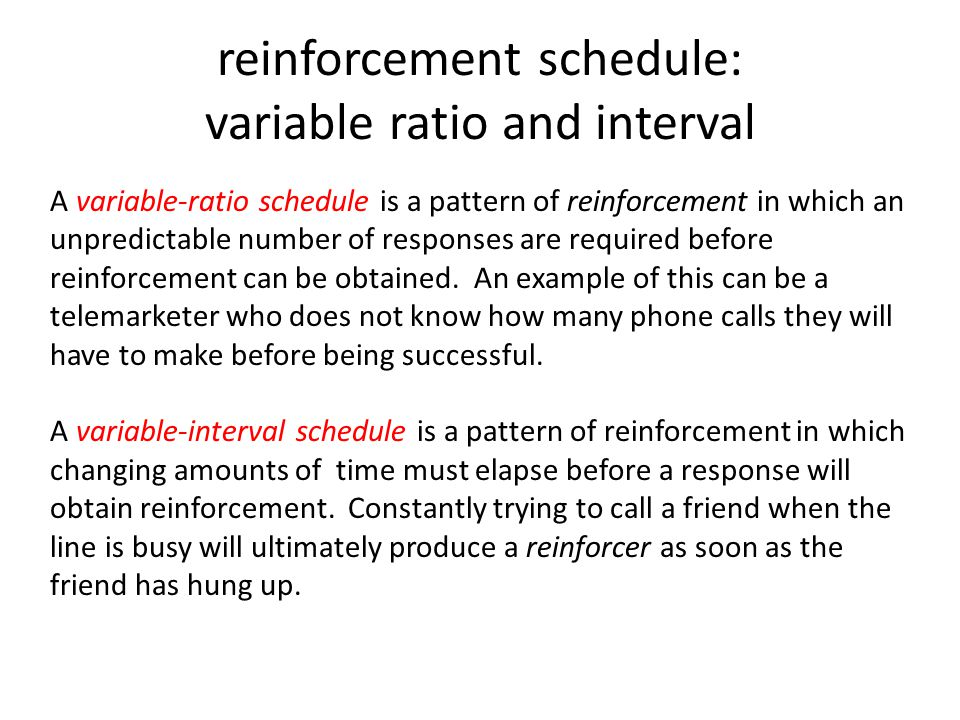 Variable Ratio Schedule Example Gallery Example Cover Letter For