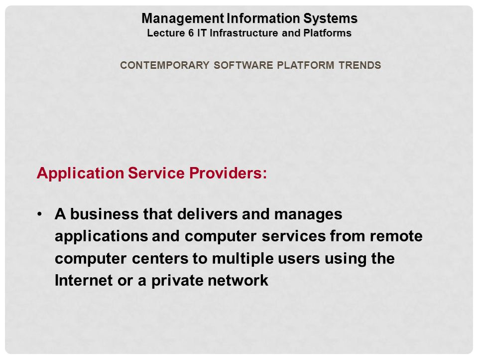 Application Service Providers: