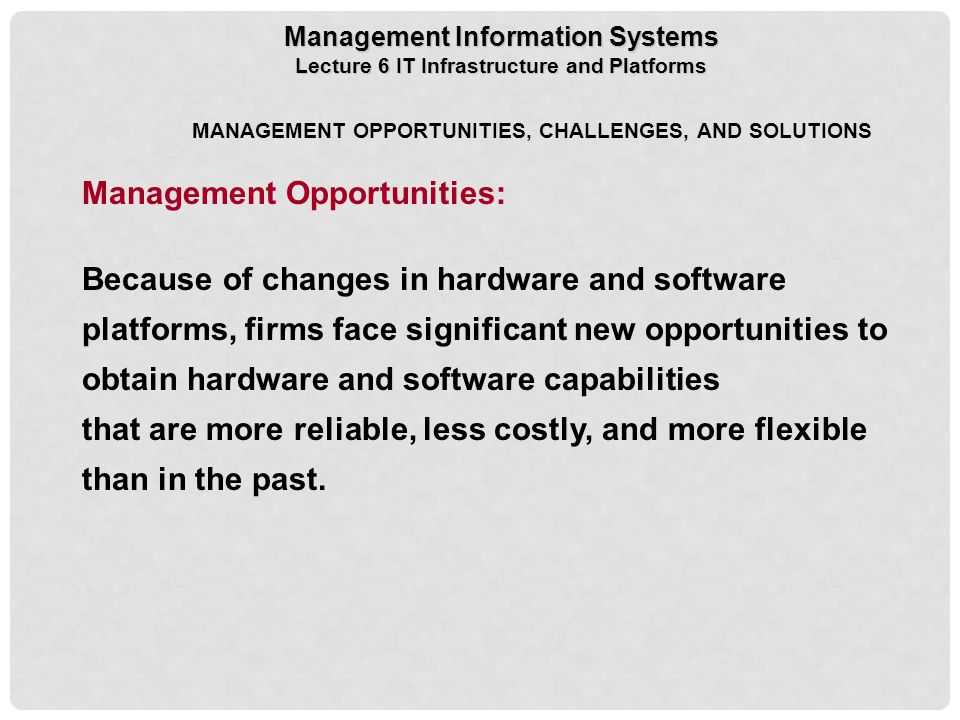 Management Opportunities:
