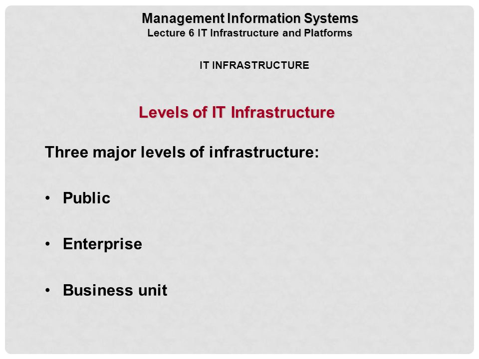 Levels of IT Infrastructure