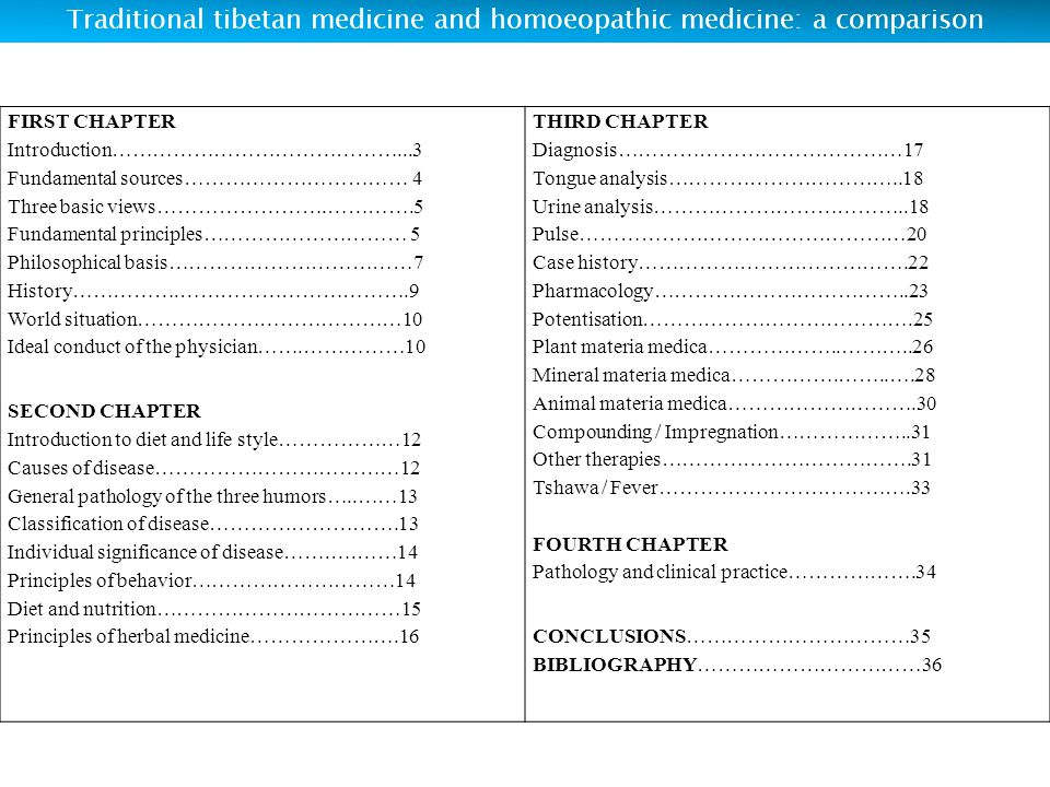TRADITIONAL TIBETAN MEDICINE AND HOMOEOPATHIC MEDICINE: A COMPARISON
