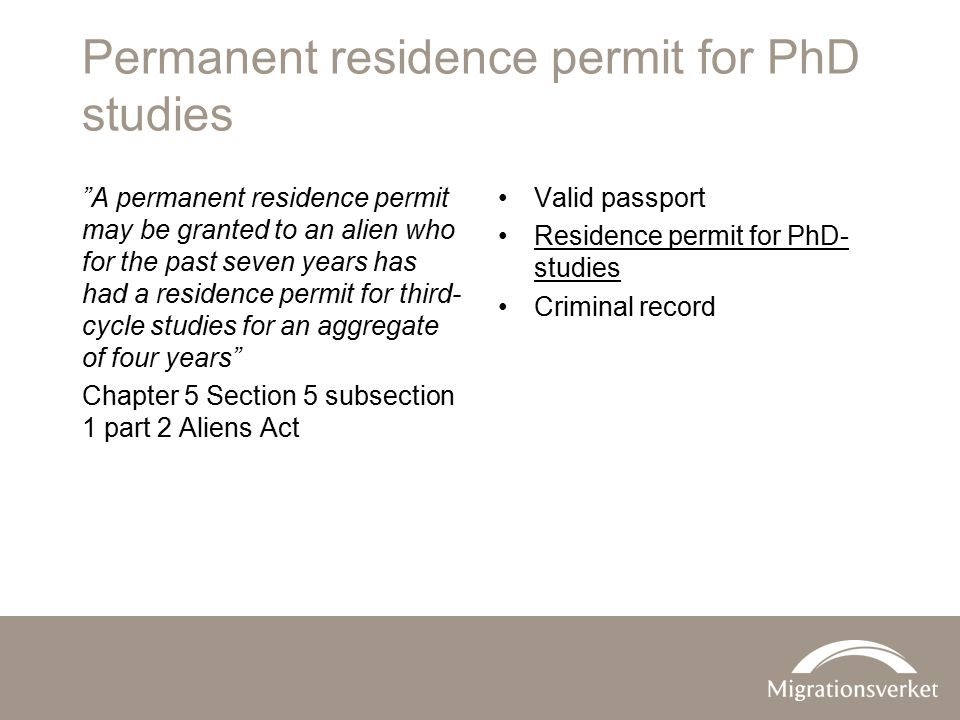 Permanent residence permit for PhD studies