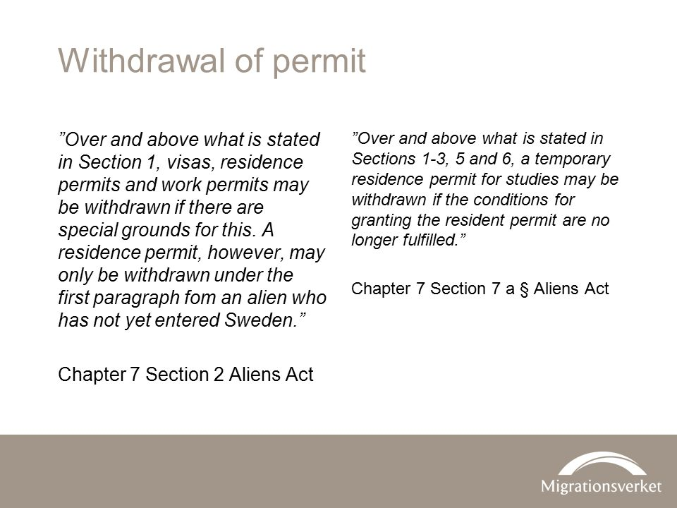 Withdrawal of permit