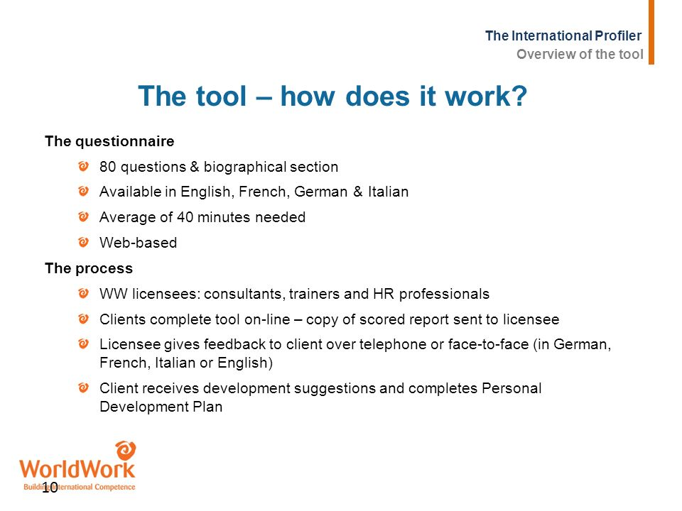 The tool – how does it work