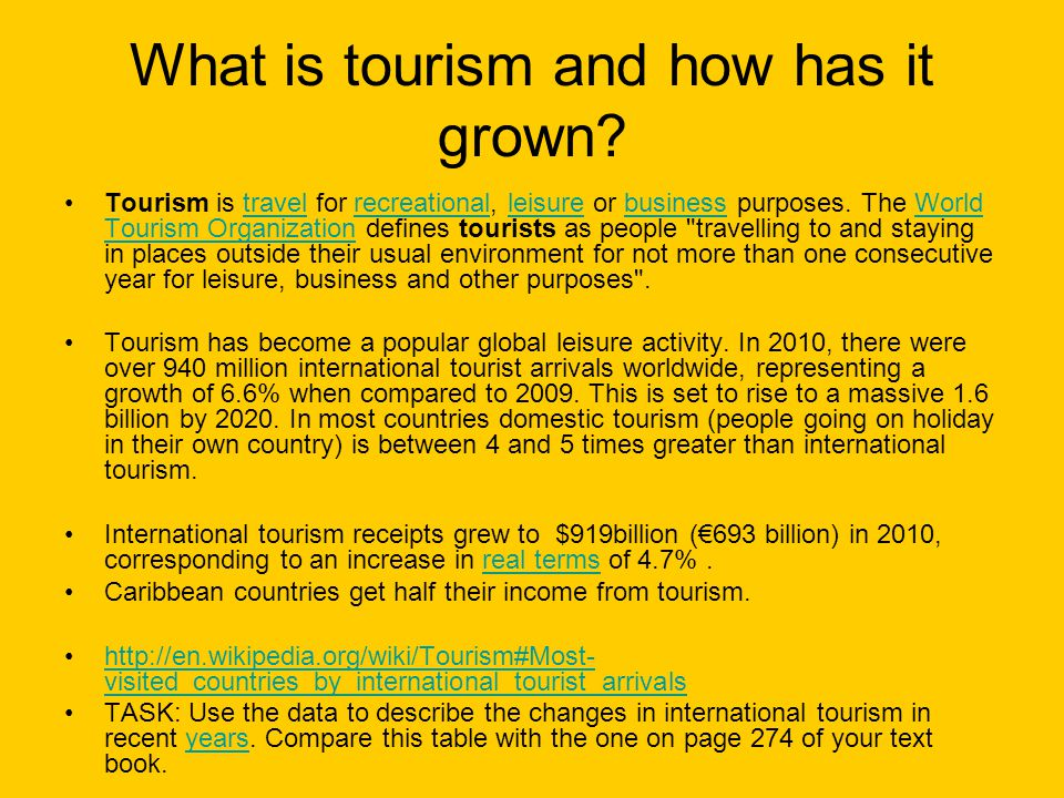 What is tourism and how has it grown
