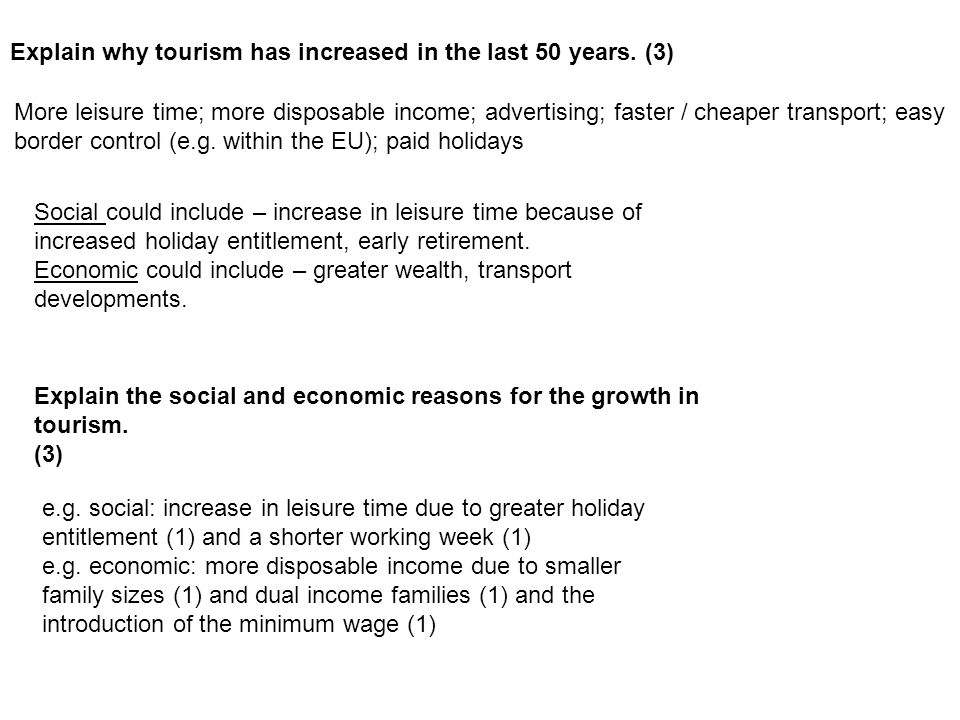 Explain why tourism has increased in the last 50 years. (3)