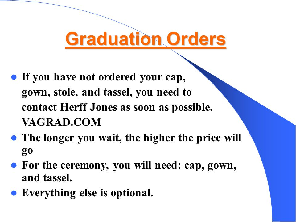 Graduation Orders If you have not ordered your cap, - ppt download