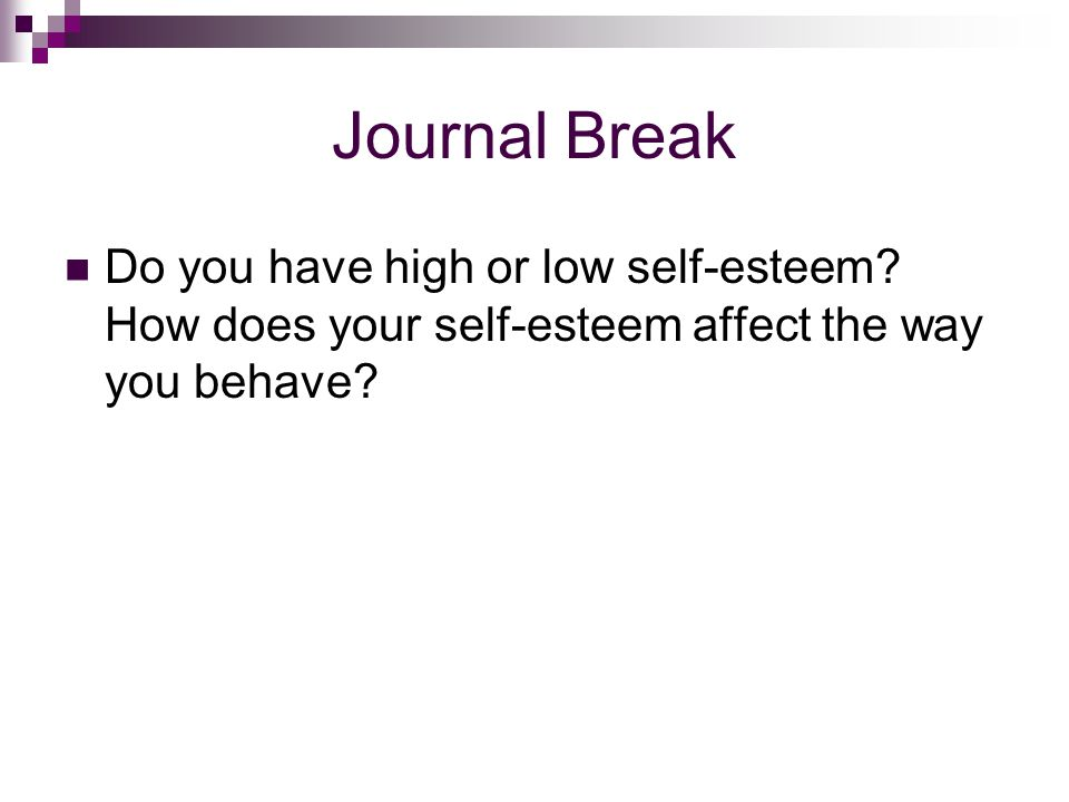Journal Break Do you have high or low self-esteem.